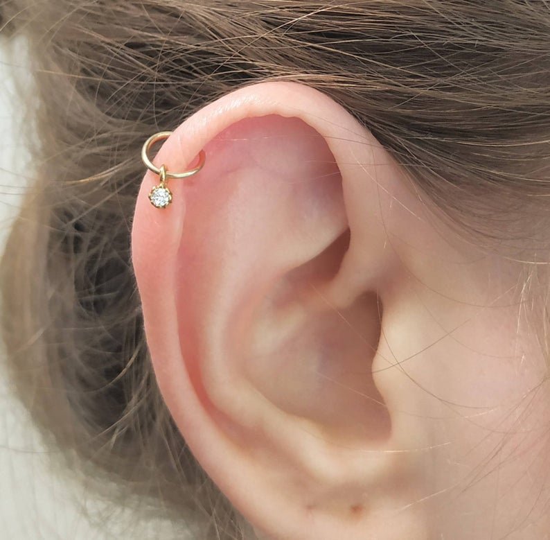 Cartilage Earring,Tiny Opal Earring,Silver cartilage earring,cartilage piercing,hoop earring
