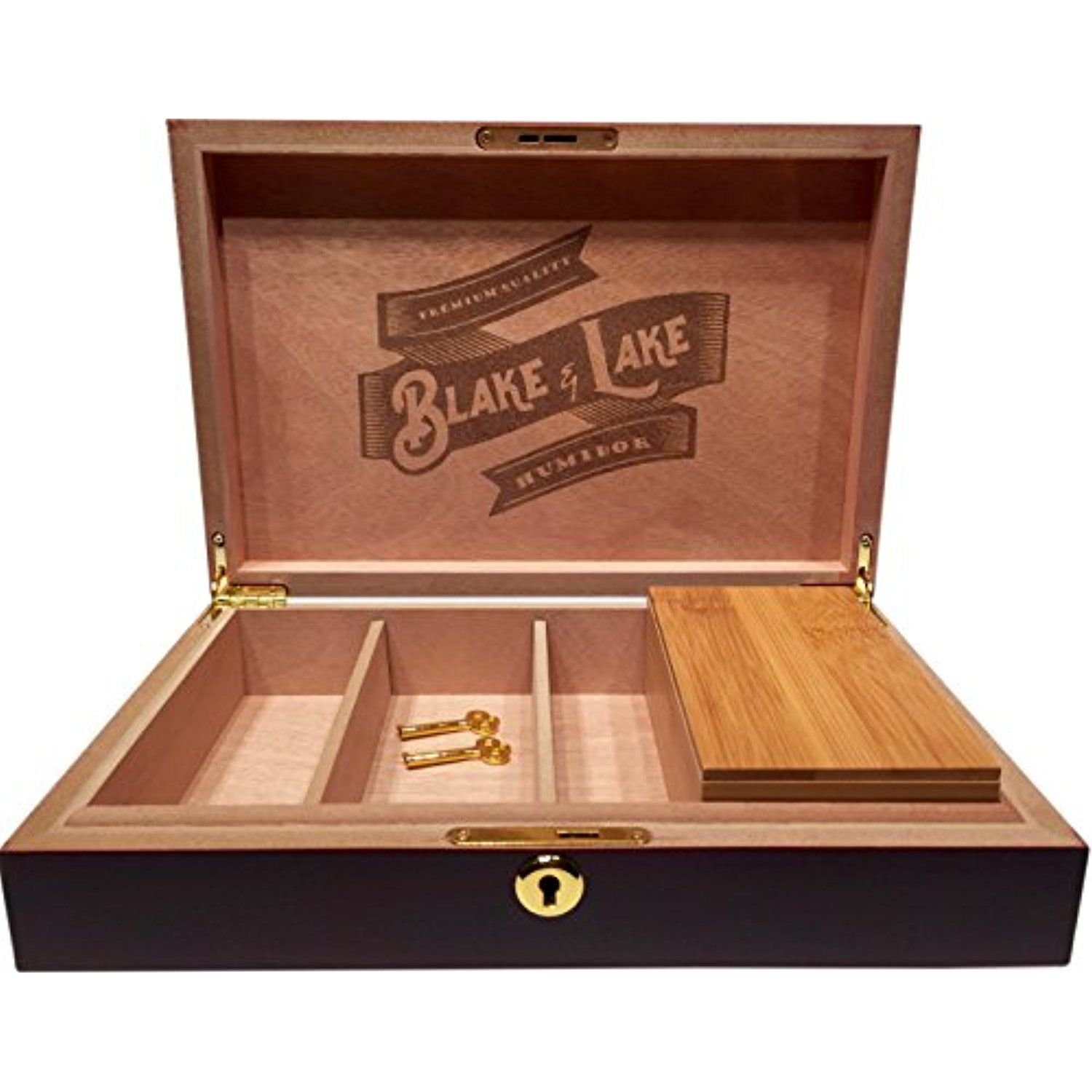 Wood Stash Box with Key Lock w/ Bamboo Box with Rolling