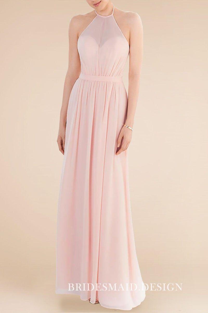 b34f0cdca7392 Baby pink chiffon long bridesmaid dress. Sweetheart bodice with illusion  halter neckline. Sleeveless.