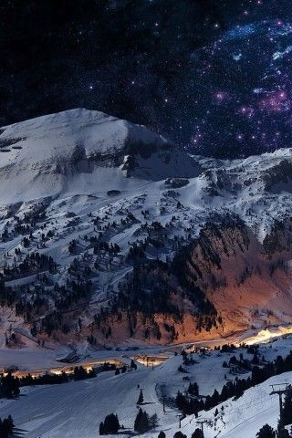Winter Mountains Landscape Stars Iphone 5 Wallpaper Iphone