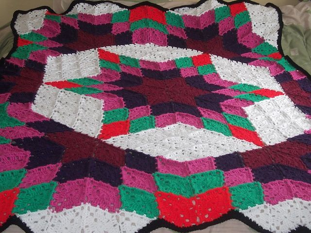images of free crocheted quilt patterns | Prairie Star Crochet Quilt ...