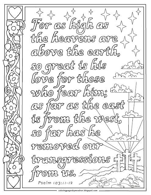 Psalm 103 11 12 Printable Coloring Page Hundreds More At