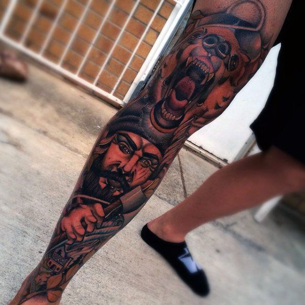 Body Art Below The Knee: Cool Masculine Ink Design Ideas