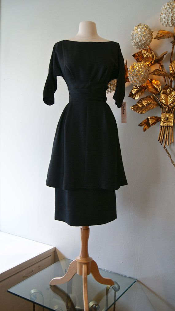50s Dress // Vintage 1950's Black Silk Miss by xtabayvintage, $248.00