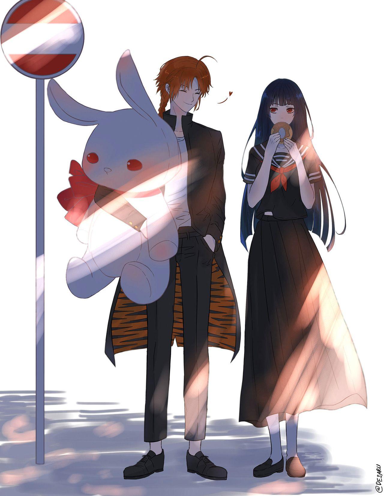 art trade with tan chan blackhaiper xd an au 3z kamunobu fanart 今井信女 銀魂 信女 神楽 イラスト