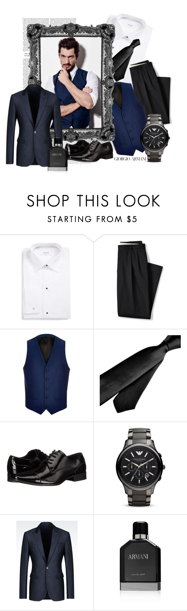 """TIMELESS"" by spells-and-skulls ❤ liked on Polyvore featuring ETON, Lands' End, Oris, River Island, Zodaca, Calvin Klein, Emporio Armani, Giorgio Armani, Armani Beauty and men's fashion"
