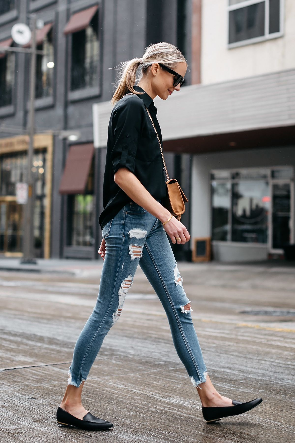 Blonde Woman Wearing Express Black Equipment Shirt Denim Ripped