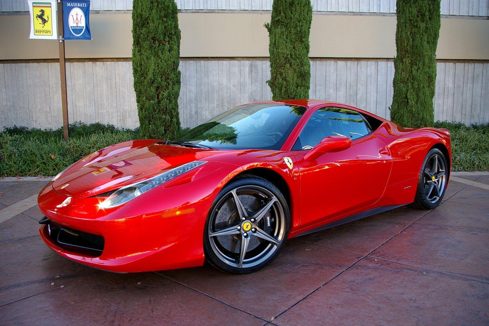 Ferrari 458 Italia Coupe Red Car Side View Wallpapers Mobil Mewah Mobil Kemewahan