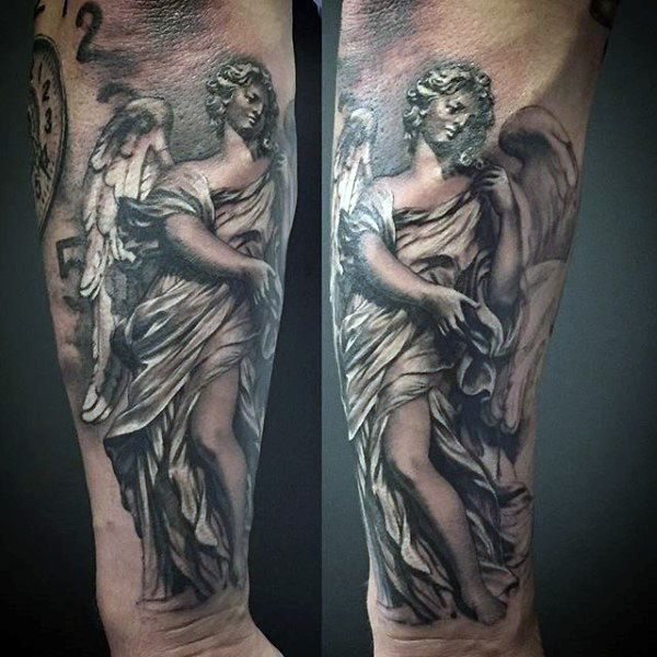Grey Colored Guardian Angel Tattoo Guys Forearms | Full ...