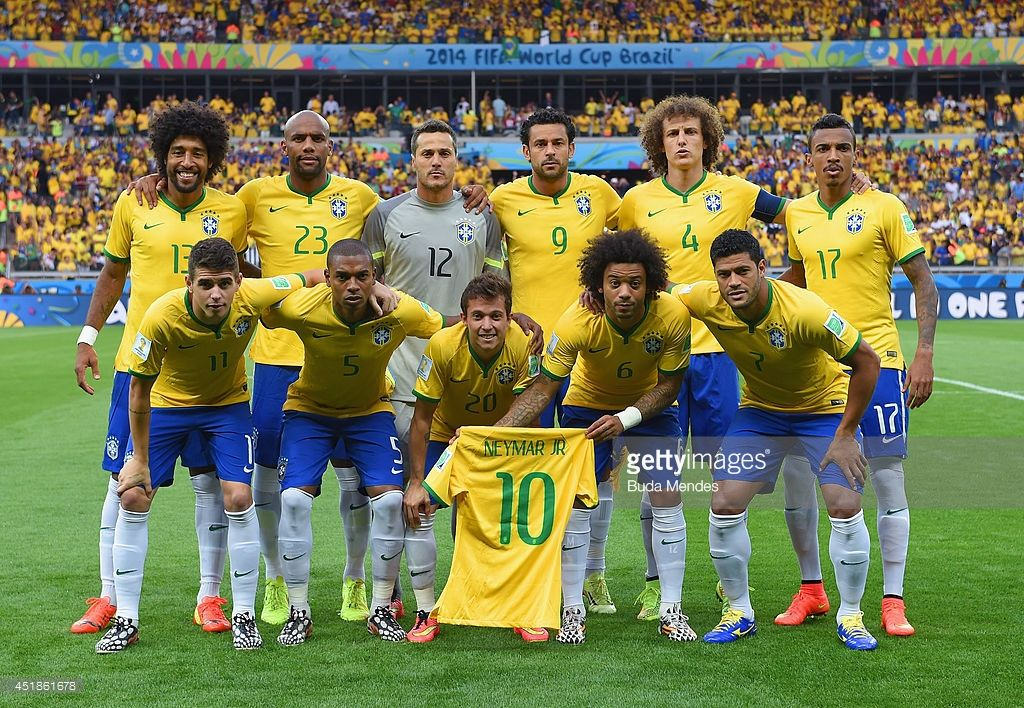 Brazil Pose For A Team Photo Holding A Neymar Jersey Prior To The 2014 Fifa World Cup Brazil Semi Final Match Between Brazil And Germany At Estadio Mineirao On