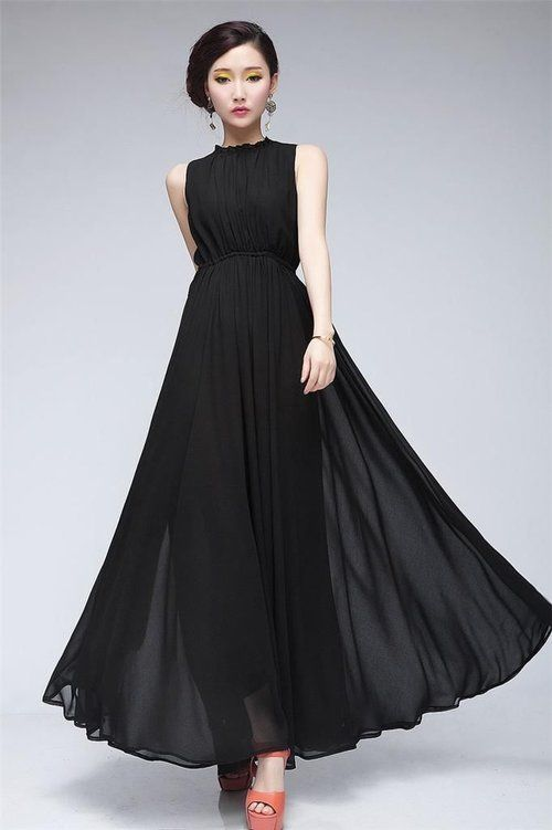 caada9b18 Women Clothing Casual Long Halter Lace Up Folded Large Hem Maxi Chiffon  Dresses - $54