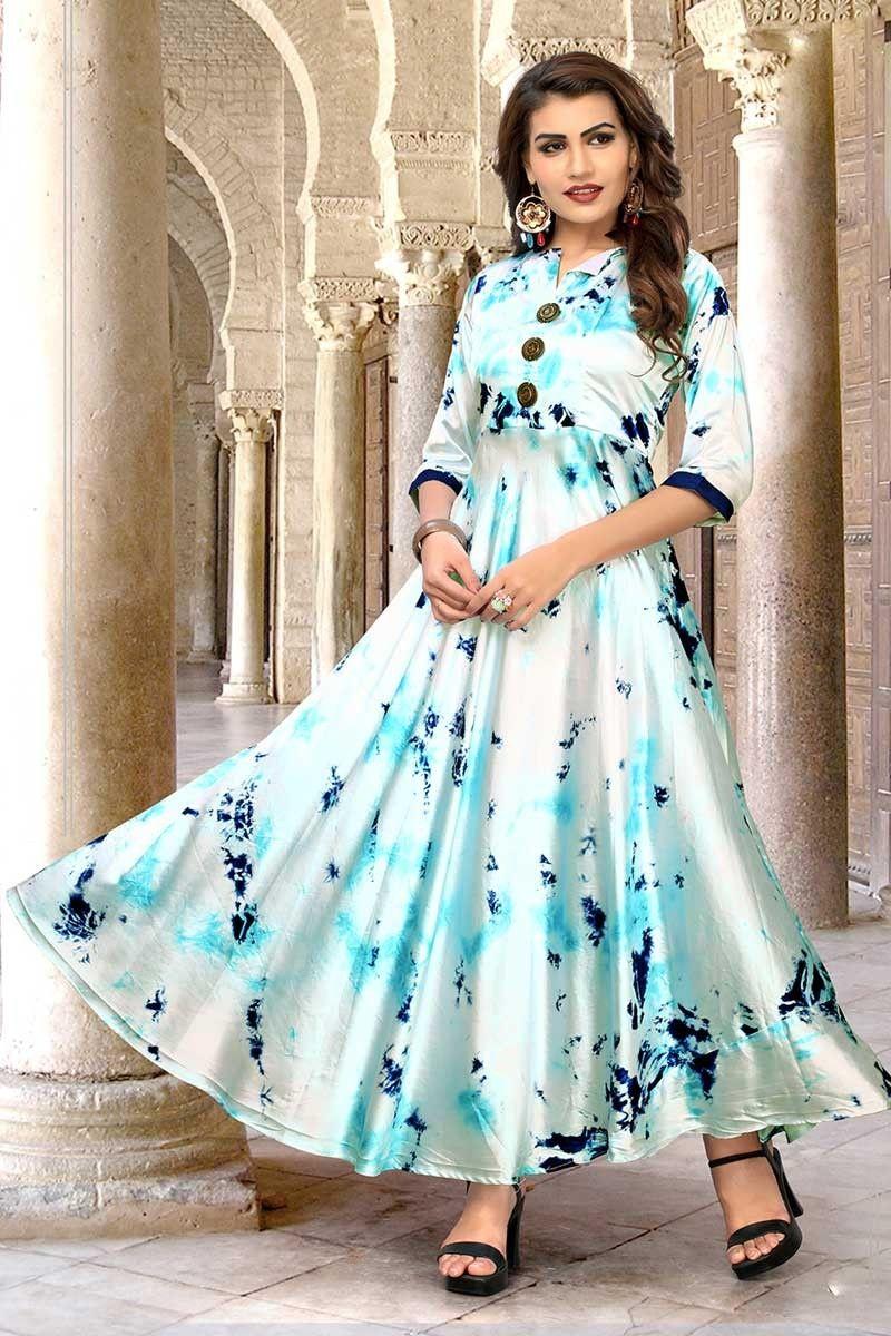 Buy white satin shibori print office wear fancy readymade long kurti
