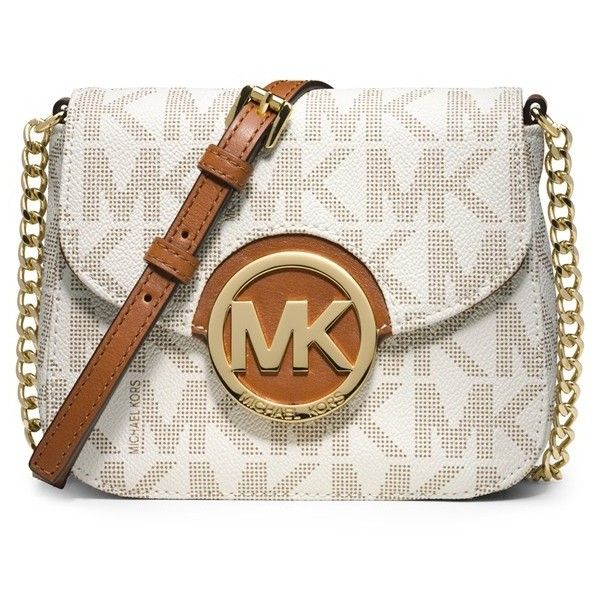 MICHAEL Michael Kors 'Fulton' Crossbody Bag ($148) ❤ liked on Polyvore featuring bags, handbags, shoulder bags, michael kors, vanilla, chain strap handbag, chain strap shoulder bag, crossbody purse, michael michael kors handbags and white cross body purse