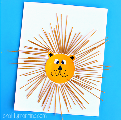 Learn How To Make This Spaghetti Lion Craft Using Noodles Glue And