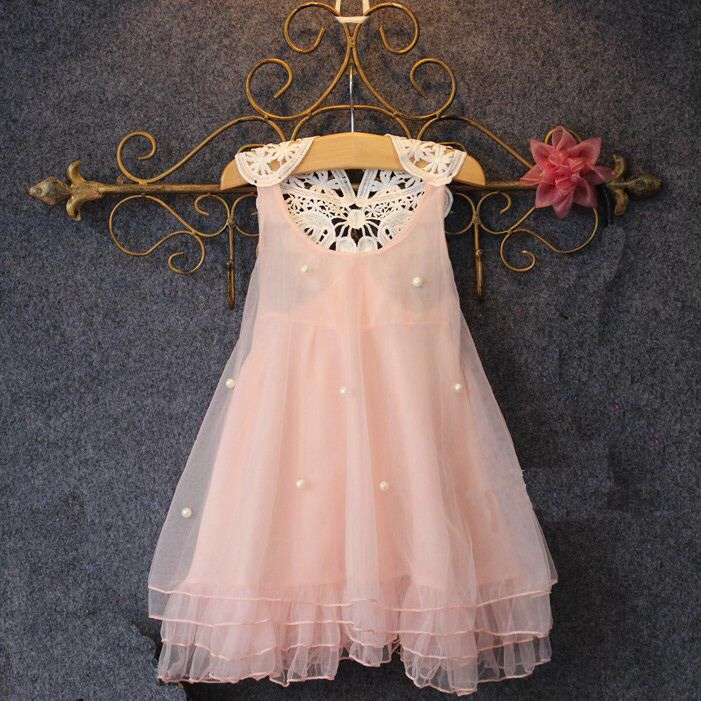 b8adbccd5 2015 new summer fashion girls pearl vest sleeveless lace dress Tutu children  sweet princess dresses kids clothes