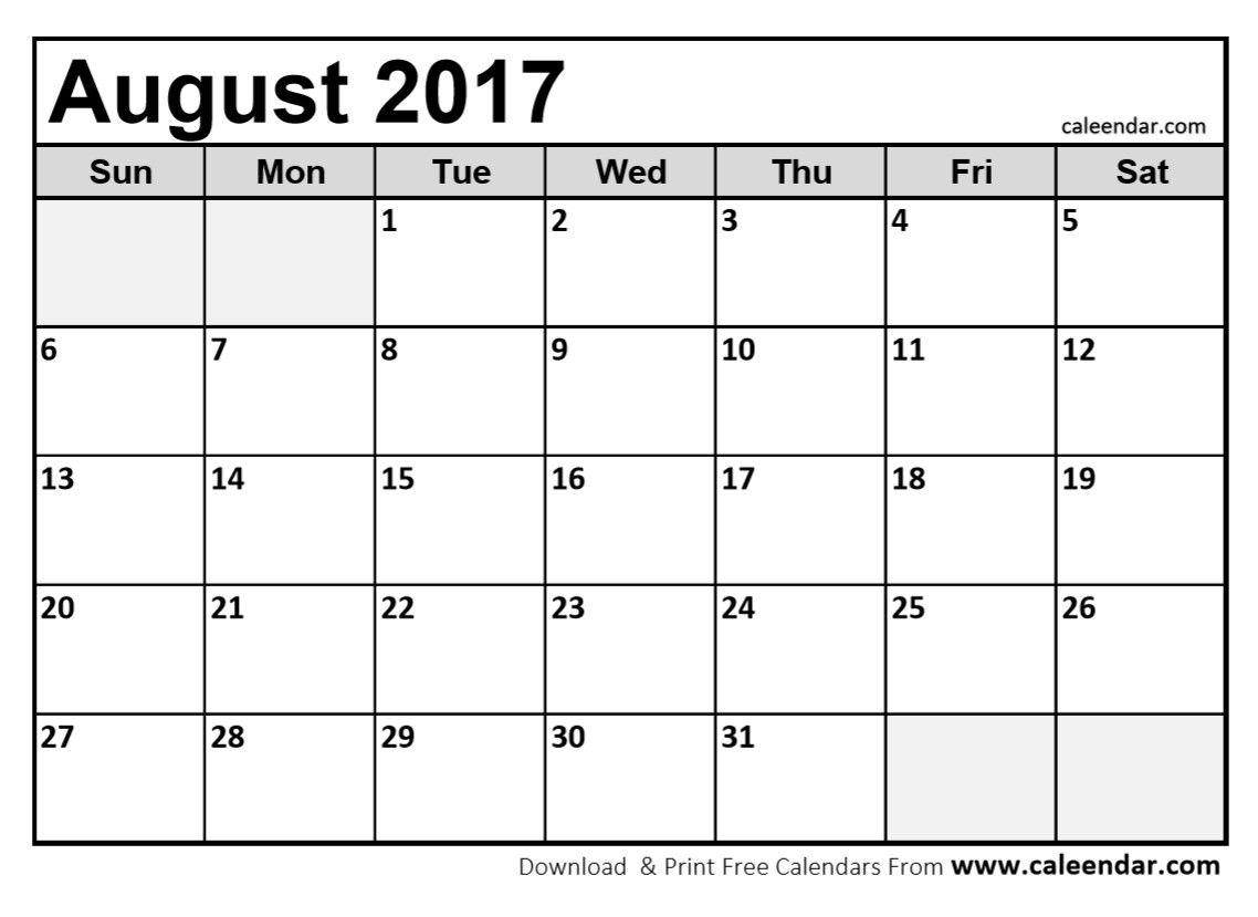 August 2017 Calendar Printable   August 2017 Calendar   Pinterest