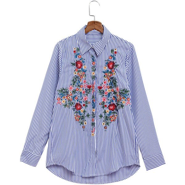 b0f5cd519 Yoins Lapel Striped Rose Embroidery Long Sleeve Shirt (405 MXN ...