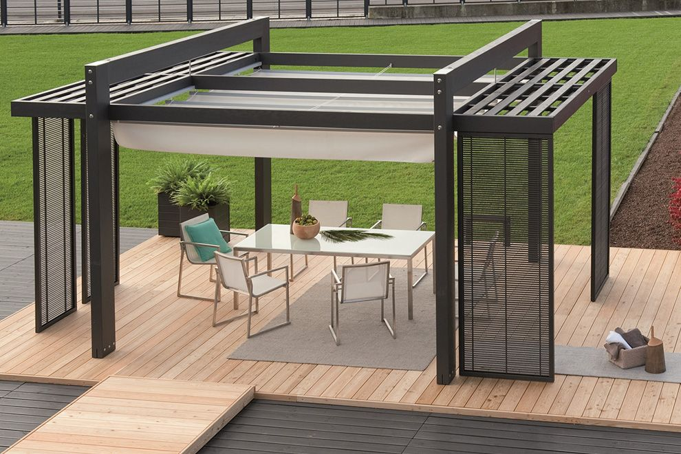 Modern Metal Pergola Design with Trellis for the Small Patio in the  Backyard complete with Modern Patio Table and Chairs on Wooden Floor  decorated with ... - Modern Metal Pergola Design With Trellis For The Small Patio In The
