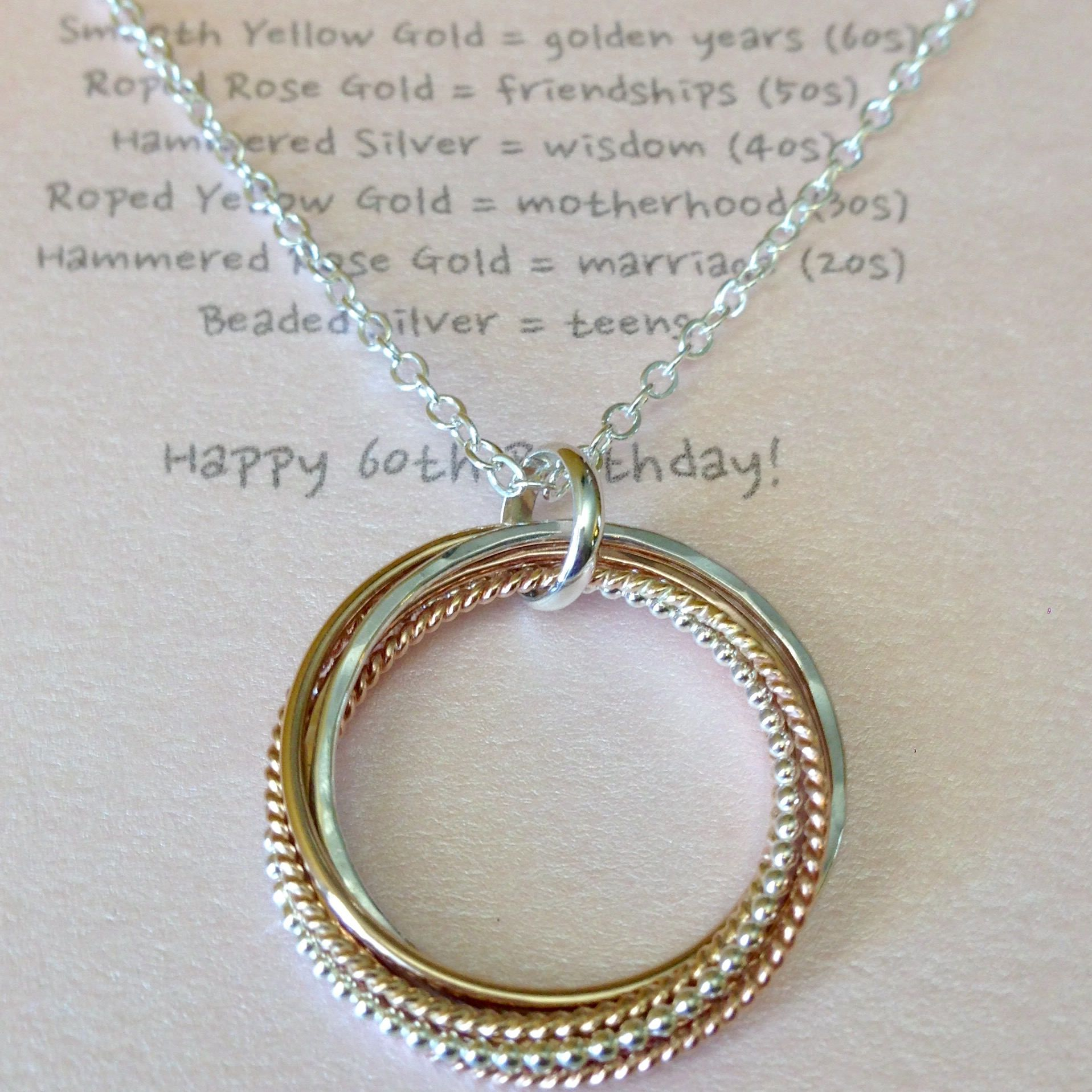 Tricolor Six Entwined Rings Necklace with Necklace Meaning