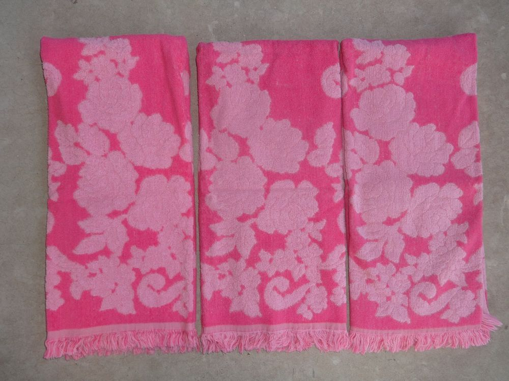 3 Vintage Retro Usa Cannon Monticello Pink Rose Sculpted Bath