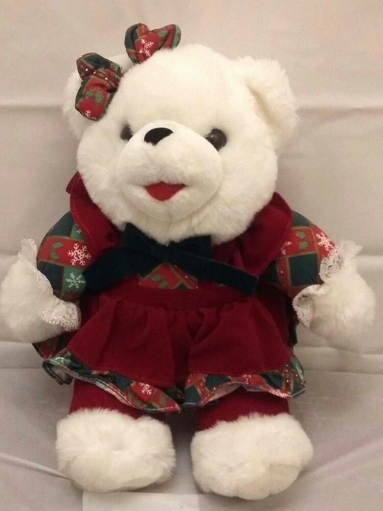 Tb Toy Trading 12 Plush Girl Bear Stuffed White Christmas Red