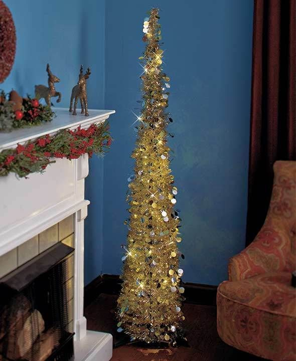 65 Lighted Pre Lit Gold Silver Wireless Christmas Tree W Timer Porch Home Decor