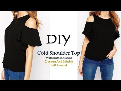 6c99320876136c DIY Cold Shoulder Top With Ruffle Sleeves Cutting and Stitching Tutorial -  YouTube