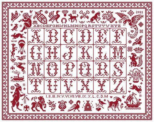 Tableau d'Emilienne - Marquoir rouge au point de croix de Clorami Designs. www.clorami-designs.be