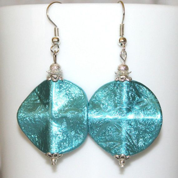 Round Turquoise Earrings/Turquoise and Silver by JacobandChloesLLC