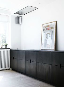 Pair black cabinets with matte black counter tops and white accents