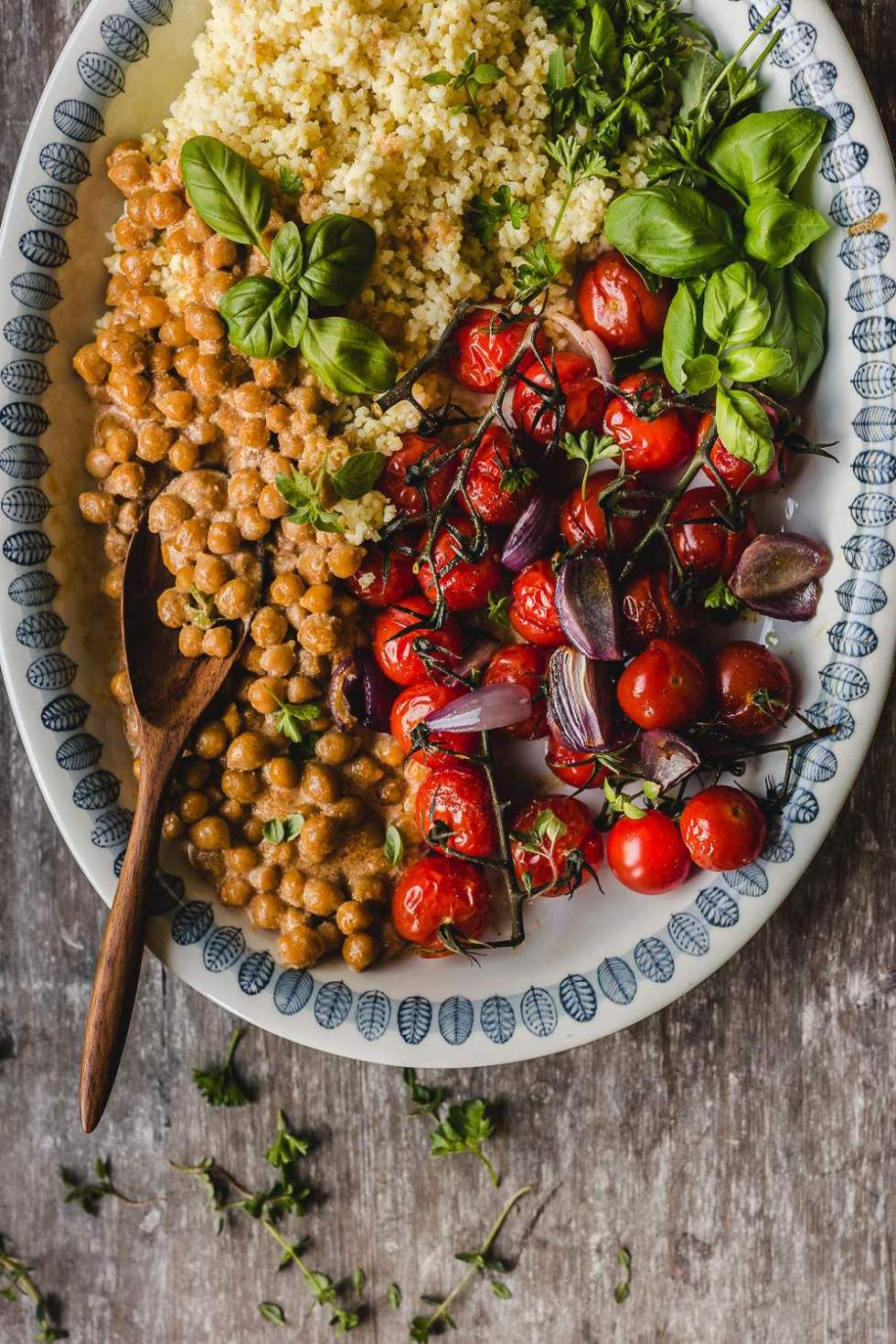 Millet With Roasted Tomatoes And Chickpeas Vegan Gluten Free Recipe Healthy Snacks Recipes Roasted Tomatoes Lunch Recipes Healthy