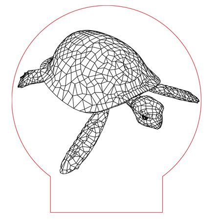 Sea Turtle 3d Illusion Lamp Vector File For CNC   3bee Studio