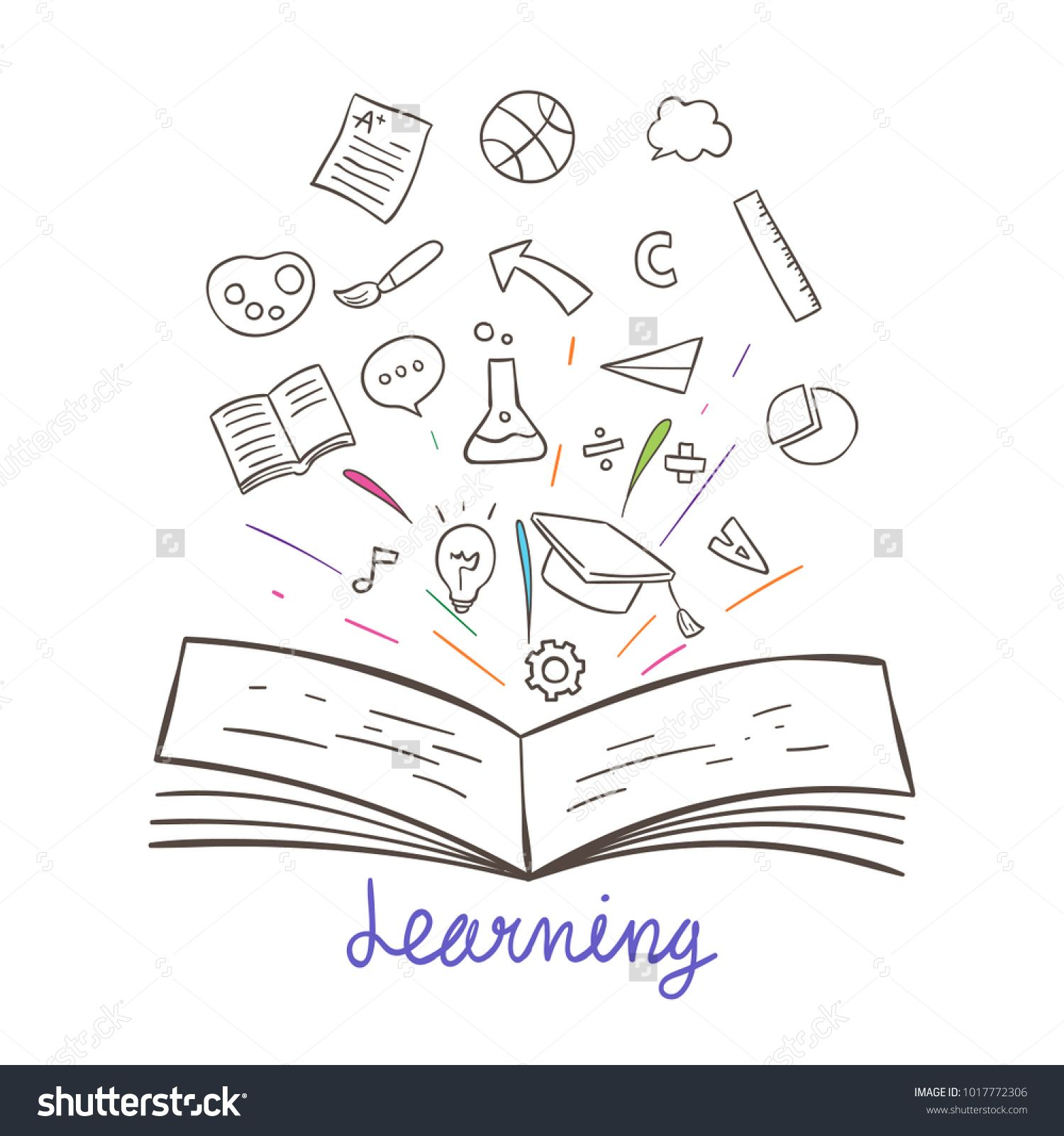 Hand Draw Vector Illustration Concept Education Sketch Outline Book Open And Element Decora Open Book Drawing Hand Drawn Vector Illustrations Hand Drawn Vector