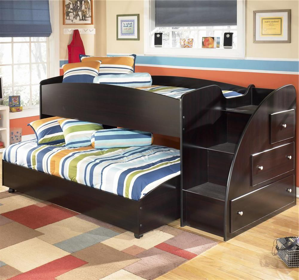Embrace Twin Loft Bed With Caster Bed And Right Storage Steps By Signature Design By Ashley