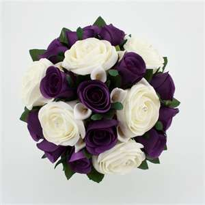 Wedding Bouquet Purple Silver Wedding Flowers Purple Wedding