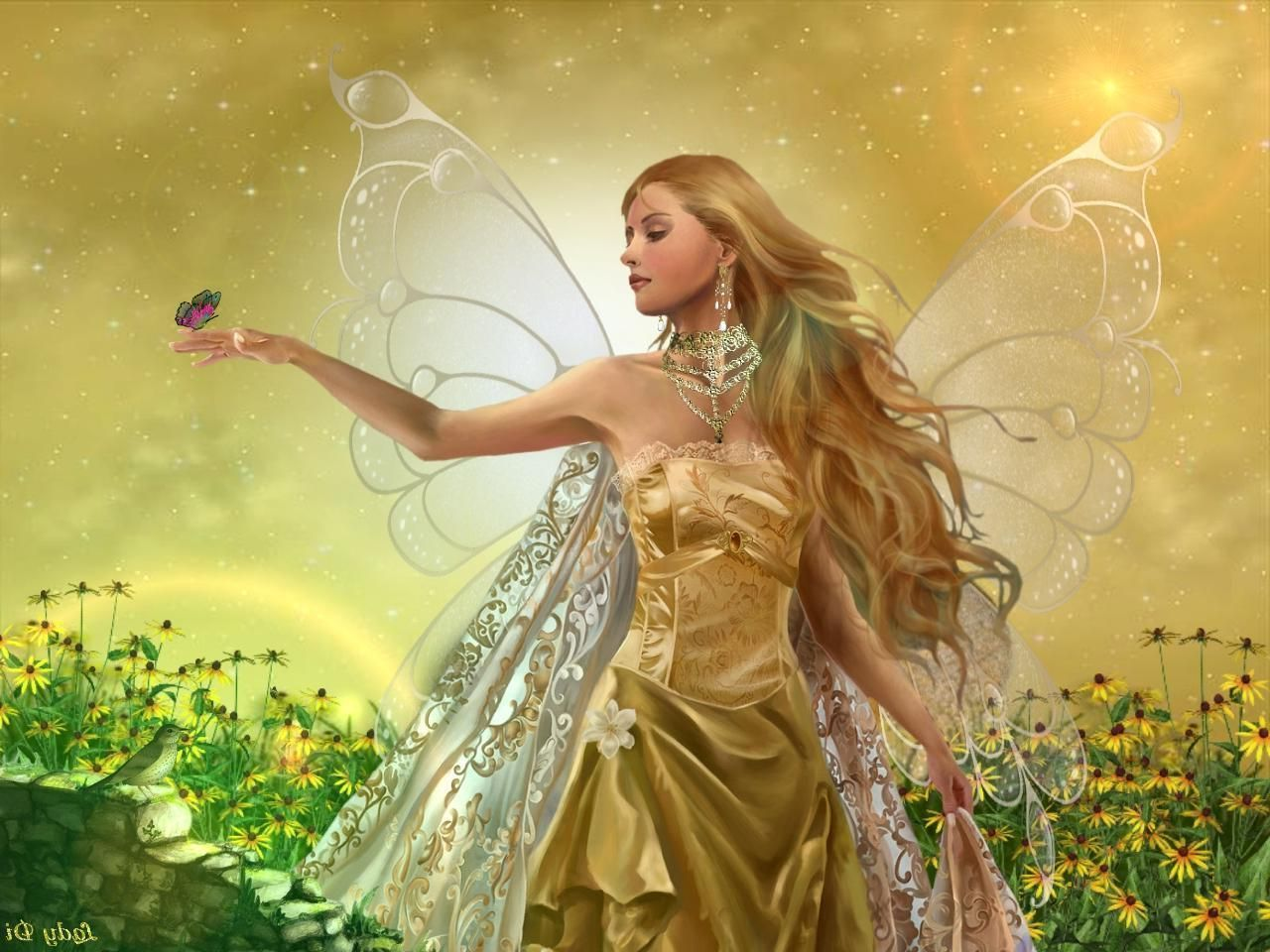 wallpapers birdcages golden fairy angel beautiful bird butterfly