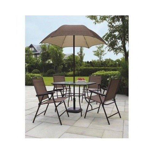 New Folding Patio Dining Set 6 Piece W Umbrella Yard Deck Picnic Bar