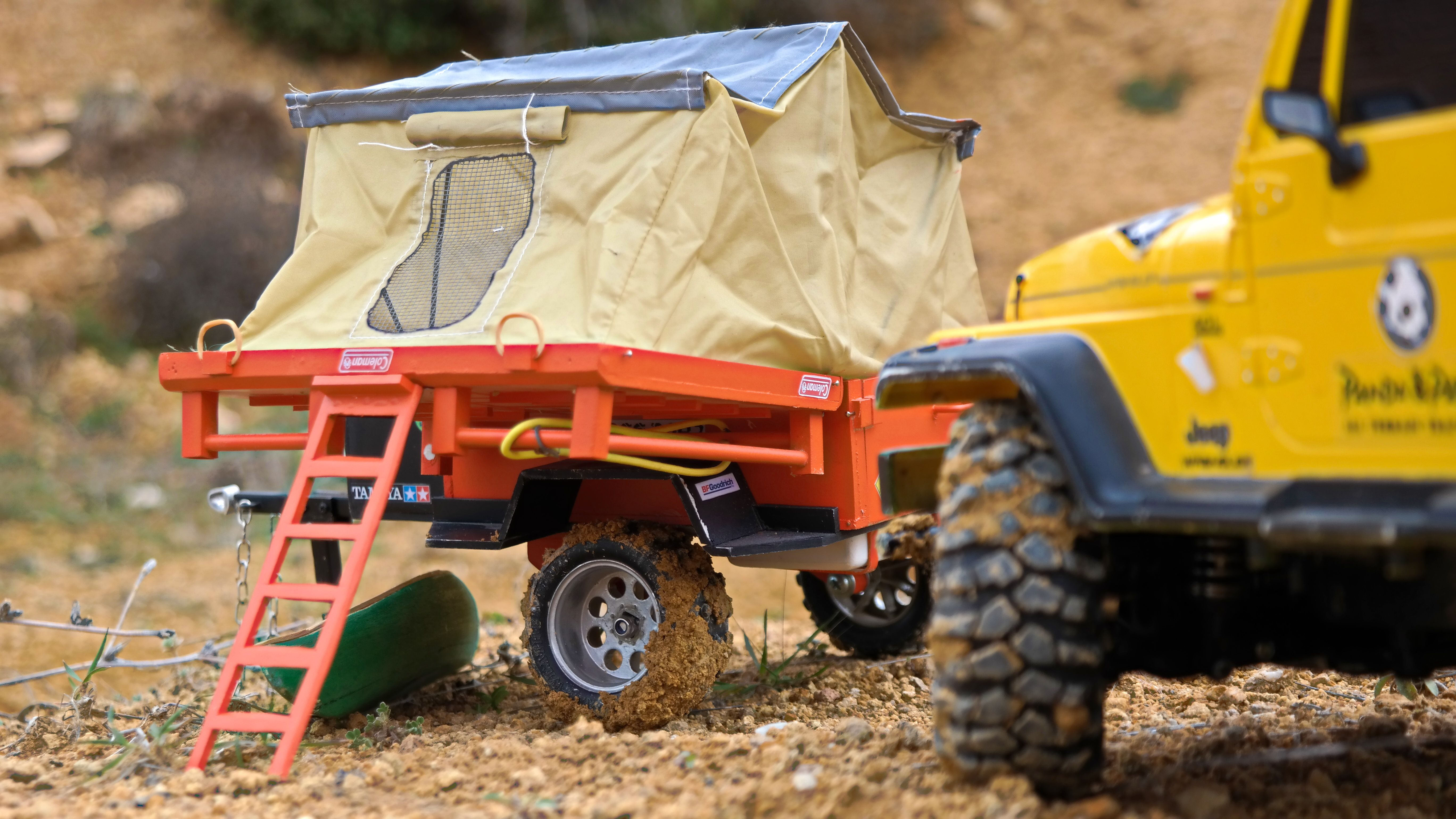 Rc scale 1 10 tamiya cc 01 jeep wrangler with custom camper trailer