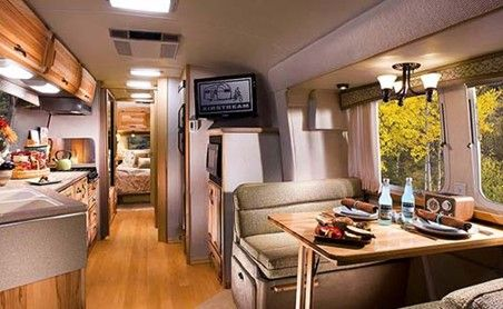 Decoration, Airstream Classic Limited Travel Completed With Tv Table And  Sofa And Glass Windows And Brown Flooring So Cool Design: The Fabulous  Airstream ...