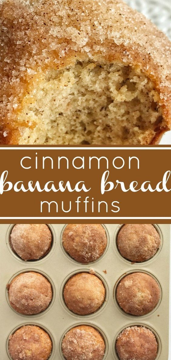 Cinnamon Banana Bread Muffins | The best banana muffin recipe is moist and topped with cinnamon & sugar sprinkles. Tastes like banana bread but in a muffin. #bananabread #muffins #snackrecipes #bananabreadrecipe
