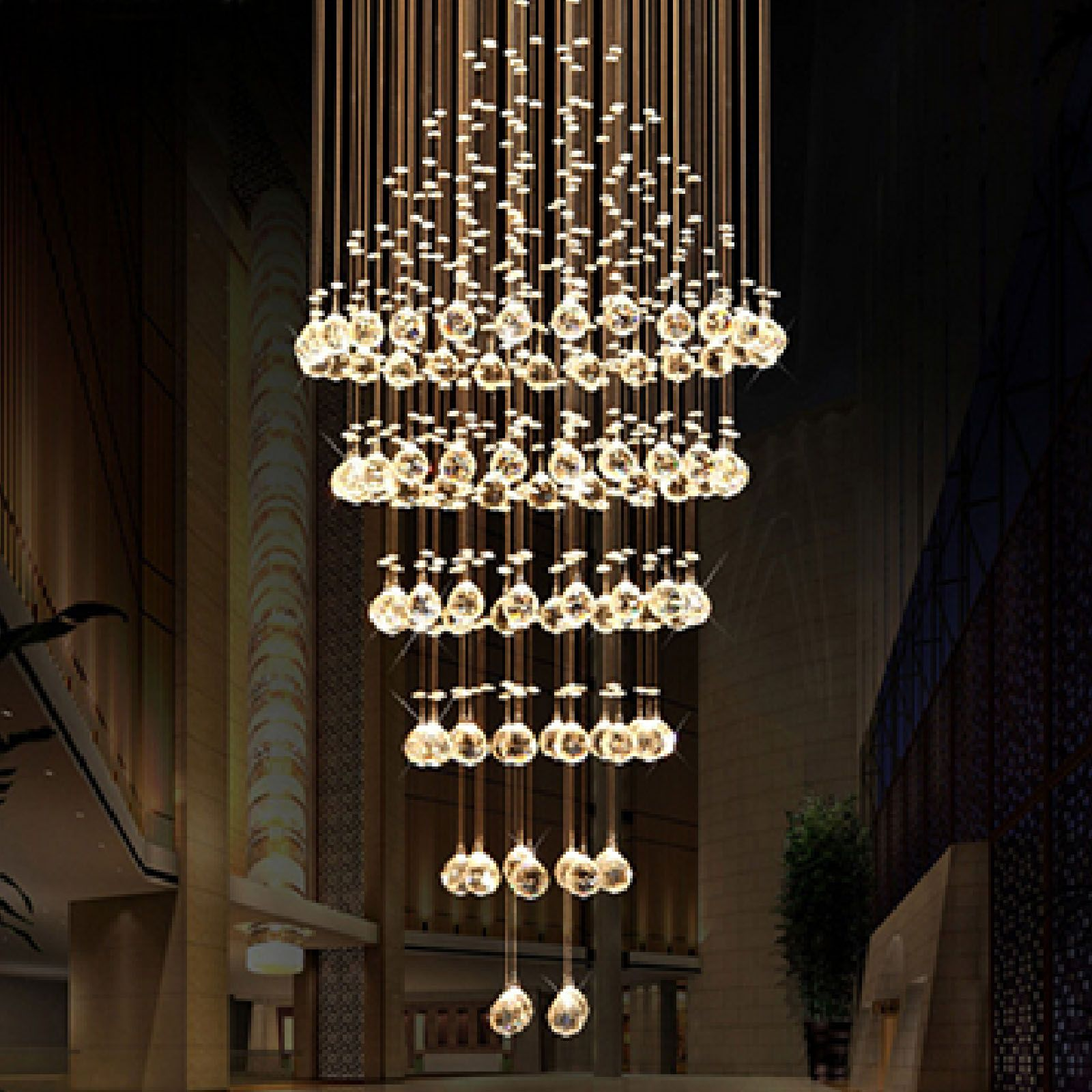 Byb Modern Chandelier Rain Drop Lighting Round Crystal Ball Fixture Pendant Ceiling Lamp Free