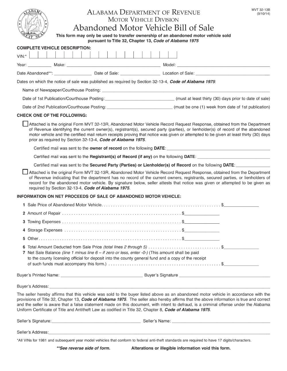 Alabama Abandoned Motor Vehicle Bill Of Sale Form Mvt 32 13b Eforms Free Fillable Forms Bills Letter Of Employment Motor Car