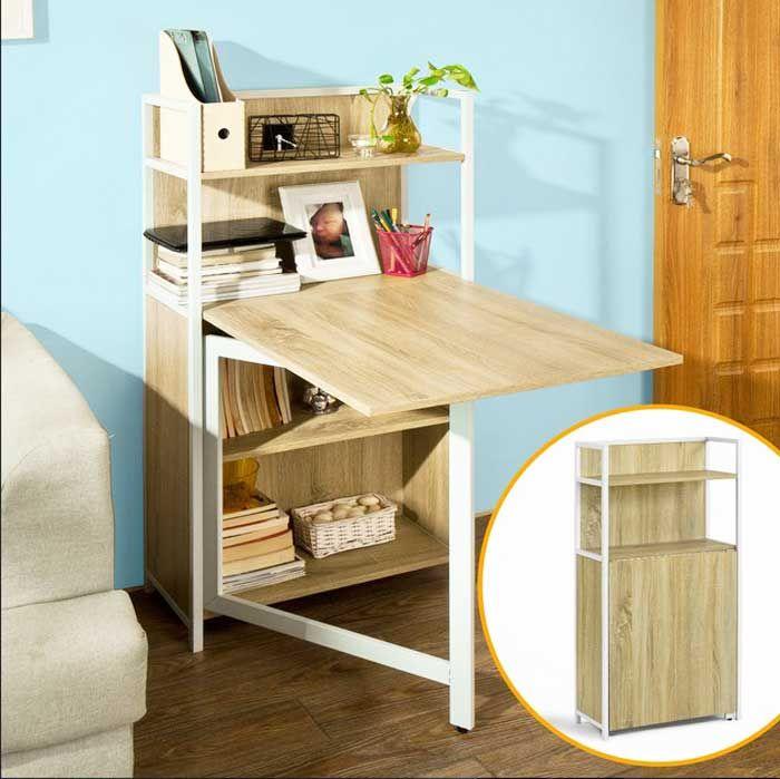 Klappbarer Schreibtisch Mit Schrank Design Zum Speichern Bücher Und Andere  Geräte Für Wohnzimmer Ideen