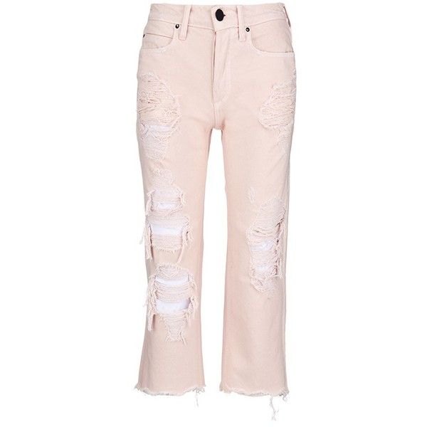 Alexander Wang 'Rival' distressed cropped jeans ($345) ❤ liked on Polyvore featuring jeans, pants, pink, destructed boyfriend jeans, boyfriend jeans, boyfriend cropped jeans, torn jeans and pink jeans