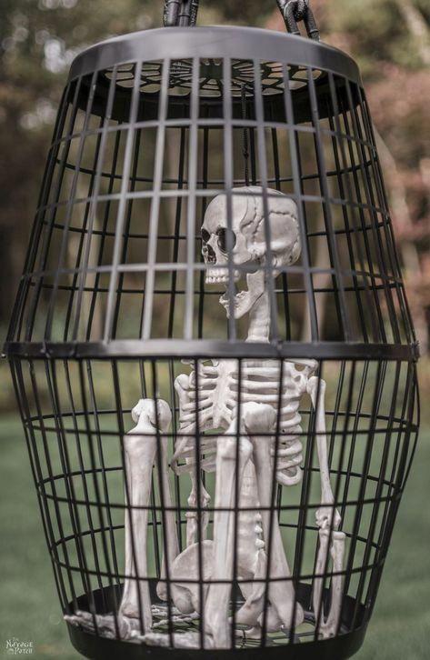 Hanging Cage Halloween Prop DIY Halloween decor with Dollar store