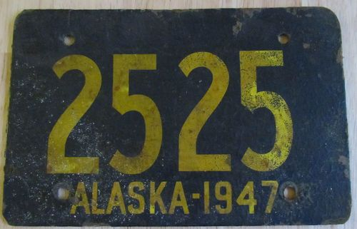 Vintage 1947 Rare ALASKA AK License Plate Vehicle Registration Plate, Plastic Plates, License Plates