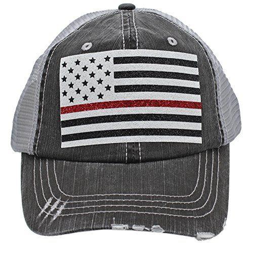 f90b16df79fa Sun Nowa Thin Red Line American Flag Firefighter Wife Mom Women Glittering  Distressed Trucker s Cap Hat