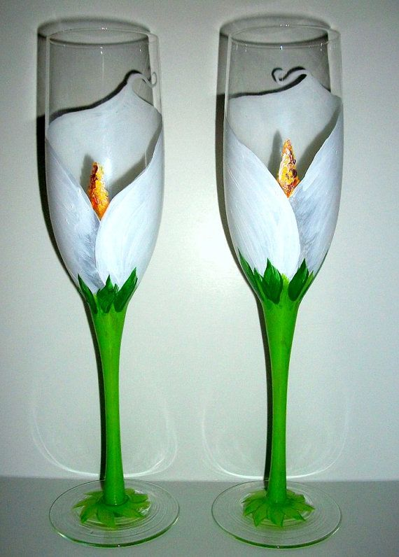 SALE / Handpainted Champagne Flutes White by SharonsCustomArtwork, $40.00