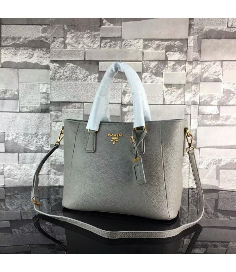 d3ee8dfb93d0af Prada 1BA056 Calfskin Leather Tote In Grey | Prada bags outlet ...