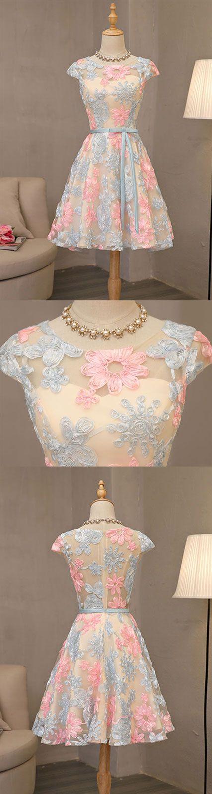 cute round neck short prom dress, cute homecoming dress